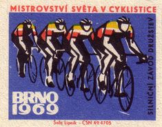 https://flic.kr/p/a1VS6Q   Team road race   World Cycling Championships, Brno 1969. Czechoslovakia. matchbox labels. print. ephemera