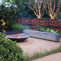 Garden Design Designed by Christopher Owen Landscape Design. Silver Medal winning garden 'Tread Lightly' at the Australian Garden Show Sydney. Garden Fire Pit, Fire Pit Backyard, Fire Pit On Grass, Fire Pit Area, Australian Native Garden, Australian Garden Design, Rustic Fire Pits, Fireplace Garden, Fire Pit Designs