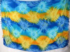 blue yellow star burst tie dye sarong beach bridal dresses $5.25 - http://www.wholesalesarong.com/blog/blue-yellow-star-burst-tie-dye-sarong-beach-bridal-dresses-5-25/