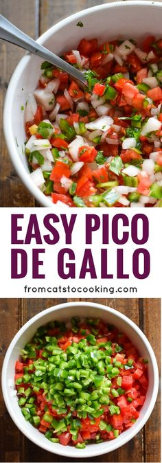 This fresh pico de gallo salsa is made with onions, jalapeños, roma tomatoes, chopped cilantro and freshly squeezed lime juice for some added brightness. Perfect as a topping on your favorite tacos or to eat as a snack with some tortilla chips!(gluten free, dairy free, paleo, vegetarian, vegan)