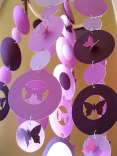 Items similar to Custom order Butterfly Hanging Paper Mobile on Etsy Butterfly Party, Purple Butterfly, 2nd Birthday Parties, Girl Birthday, Paper Mobile, Tinkerbell Party, Arts And Crafts, Diy Crafts, Diy Cardboard
