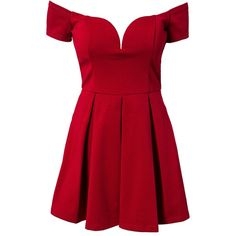 Forever Unique Bardot Dress ($115) ❤ liked on Polyvore featuring dresses, vestidos, red dresses, short dresses, red, party dresses, womens-fashion, low back cocktail dress, circle skirt and short red dress