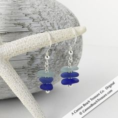 Three Shades of Blue Sea Glass Sea Stack Sterling Silver Earrings