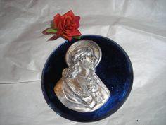 Sacred Heart Plaque with Cobalt Blue Glass........Art Deco Era