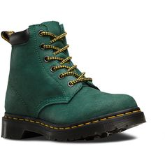Dr. Martens 939 Suede Lace-Up Combat Boot ($125) ❤ liked on Polyvore featuring shoes, boots, dr. martens, low suede boots, suede lace booties, suede lace boots and dr martens boots