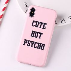 Cute But Psycho Quote iPhone Case Iphone 8, Iphone 7 Plus, Coque Iphone, Iphone Phone Cases, Unlock Iphone, Phone Covers, Funny Phone Cases, Iphone Cases Quotes, Cute But Psycho