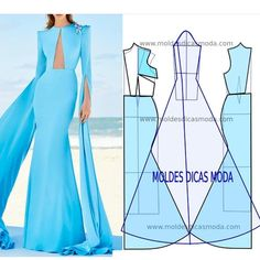 Long blue dress - Visit the website to see the full publication. Evening Dress Patterns, Dress Sewing Patterns, Clothing Patterns, Fashion Sewing, Diy Fashion, Ideias Fashion, Fashion Details, Gown Pattern, Jumpsuit Pattern