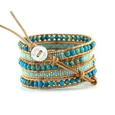 Buy Blue Imperial Jasper with Turquoise Miyuki Glass Seed Beads on Natural Leather Wrap Bracelet by Katie Joëlle on OpenSky