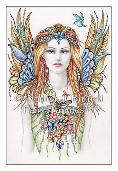 Items similar to Fairy Flutters inch Fairy Tangles Hand Embellished Print - Fantasy Art by Norma J Burnell Fairy and Bird Fine Art Print on Etsy Fairy Coloring Pages, Adult Coloring Pages, Coloring Books, Doodle Coloring, Tangled Drawing, Fairy Pictures, Tangle Art, Goddess Art, Beautiful Fairies