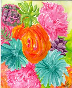 one of my newest paintings.  bright flowers and succulents, original watercolor painting