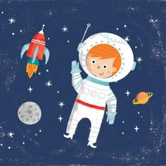 Leading Illustration & Publishing Agency based in London, New York & Marbella. Astronaut Illustration, Children's Book Illustration, Character Illustration, Baby Drawing, Drawing For Kids, Art For Kids, Space Boy, Art N Craft, Painting For Kids