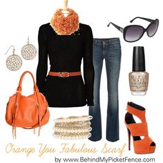 """Orange You Fabulous ..."" by behindmypicketfence on Polyvore"