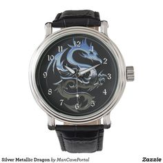 Silver Metallic Dragon Watch Vintage Leather, Vintage Men, Vintage Black, Pocket Watches, Out Of Style, Cool Watches, Portal, Metallic, Dragon