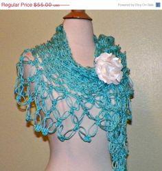 ON SALE Shawl Triangle Crochet Bright Aqua by wildirishrosecrochet