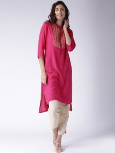 Buy Moda Rapido Pink Embroidered Kurta - Kurtas for Women | Myntra