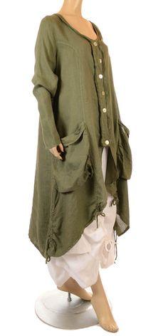 Eden Fab Lagenlook Khaki Green Linen Coat - Summer 2013