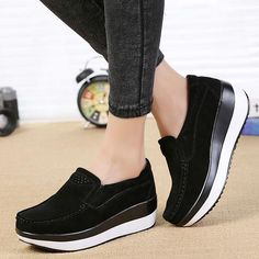 Women Flat Platform Loafers Elegant Suede Leather Moccasins Shoes Slip On  Blue Casual Shoes 36e1f5528581