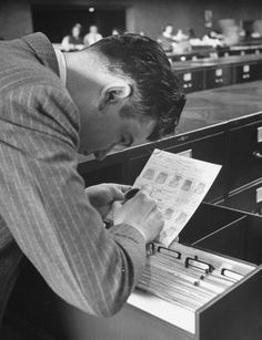 Pictures of FBI's Fingerprint Filing System During World War II