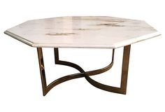 Mid Century Modern Marble Top Octagon Coffee Table