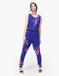 Evelina Pool Blue Floral Jumpsuit , Size 8   Joules UK