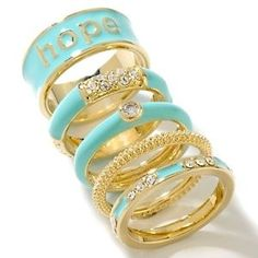 "Justine Simmons Jewelry Set of 5 ""Hope"" Stackable Rings"