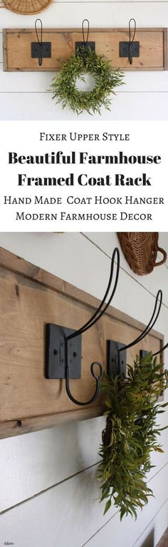 Beautiful Farmhouse Decor Coat Rack! from Etsy: Make a statement in your entryway with this gorgeous framed coat hanger. It would be great in a nursery for hanging special outfits & diaper bags. Or to put in your bathroom for a unique towel rack. #rusticdecor #countrydecor #farmhousedecor #rusticfarmhouse #ad #rusticcountryfarmhouse #FarmhouseInteriorDesignideas #nurserydecor #nursery #bathroomdecor #fixerupper #fixerupperstyle#rusticbathroom #RusticCountryFarmhouseDecorIdeas #homedecor