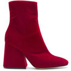 Maison Margiela Velvet Block Heel Boots