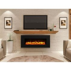 Newest Photographs Electric Fireplace design Tips Kreiner Wall Mounted Flat Panel Electric Fireplace Wall Mounted Fireplace, Linear Fireplace, Home Fireplace, Faux Fireplace, Living Room With Fireplace, Fireplace Design, Basement Fireplace, Wall Mounted Tv, Fireplace Inserts