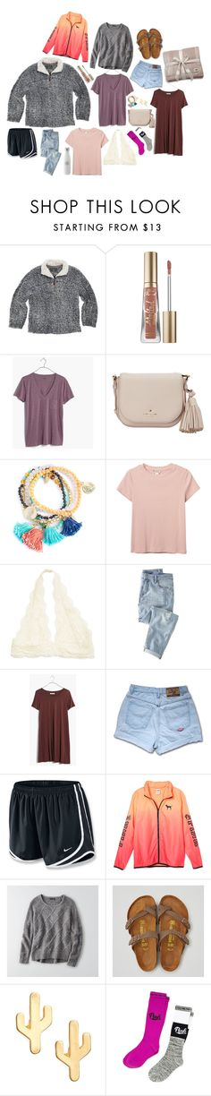 """Emery's Christmas presents!"" by thebeachyfamily ❤ liked on Polyvore featuring True Grit, Too Faced Cosmetics, Madewell, Kate Spade, Monki, Wrap, NIKE, American Eagle Outfitters, CAM and Victoria's Secret"