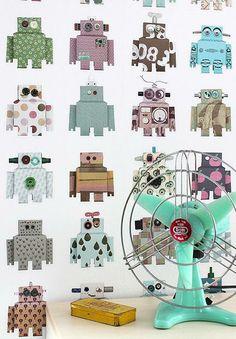 papel pintado robots, telas & papel