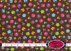 TINY OWL Fabric by the Yard Half Yard or Fat Quarter PINK & BROWN Tossed Owls and Butterfly