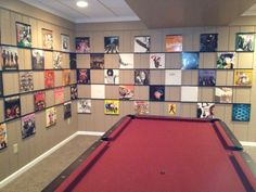 Beautiful gamesroom with a grid display for the records! Nice selection of album art too.