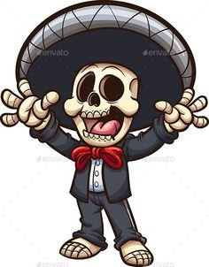 Buy Mariachi Skeleton by memoangeles on GraphicRiver. Vector clip art illustration with simple gradients. All in a single layer. Sugar Skull Costume, Sugar Skull Halloween, Cool Halloween Makeup, Sugar Skull Art, Halloween Signs, Halloween Art, Halloween Stuff, Vintage Halloween, Halloween Costumes