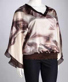 Beige Abstract Plus-Size V-Neck Top