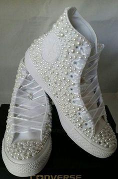 Bridal Converse Wedding Converse Bling   Pearls Custom Chuck Taylors  Wedding e81942d4b