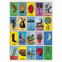 Colourful retro poster Loteria by Kitsch Kitchen, with beautiful illustrations taken from vintage Mexican vocabulary prints. Wonderful decoration in the kids room or playroom