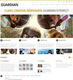 Guardian WordPress Theme is a simple and clean premium portfolio WP theme from WordPress Themex.