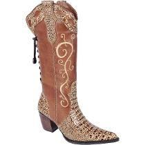 Bota Country Feminina Texana Jacare Couro Capelli Boots Bota Country  Feminina 889ffde8d6f