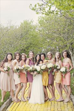 sorbet colored bridesmaids. love it