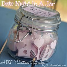 A cute and crafty DIY Valentines Gift. Put together a Date Night Jar for your Valentine and don't ever run out of ideas again. Homemade Valentines Gifts are always the sweetest! Date Night Jar, Homemade Valentines, Valentine Gifts, Hen Night Ideas, Spa Gifts, Homemade Gifts, Boyfriend Gifts, Mason Jars, Gift Ideas
