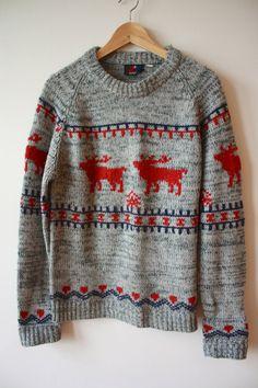 Fair Isle Reindeer Charcoal Grey Sweater Mens by flickaochpojke