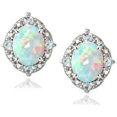 Enduring Jewels Glitzy Rocks Sterling Silver 1/3ct TGW Oval Opal and... ($19) ❤ liked on Polyvore featuring jewelry, earrings, stud earrings, blue, blue topaz jewelry, opal jewelry, blue earrings, blue opal earrings and diamond accent earrings