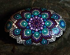 Hand Painted River Rock Mandala