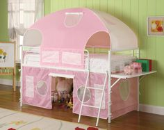 """Bunks White & Pink Tent Bunk Bed - 460202 $338 Description: Sleep and playtime just got more enjoyable with this tent style loft bed. This group is manufactured from metal and finished in a gloss white. Additional shelf on the end for additional functionality. Pink fabric is included, some assembly is required. Features:- Bunk Bed Type : Loft Bunk Bed Style : Casual Dimensions :  Tent Bunk Bed : 90.75""""W x 41.50""""D x 72.25""""H"""