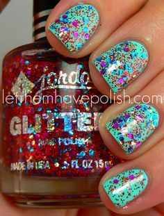 Jordana Sequins over Color Club Blue Ming. Fun for a summertime manicure! Glam Nails, Fancy Nails, Love Nails, Beauty Nails, Glitter Nails, How To Do Nails, My Nails, Gorgeous Nails, Pretty Nails