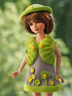 #Clothes for #dolls #13 #inch, Set summer mini #dress &# hat cotton for KID dolls, gray-green beret, #fashion doll #KID #iplehouse, mini Maru