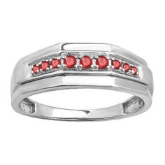 Elora Sterling Silver Men's 1/4ct TW Round-cut Ruby Wedding Anniversary Band (Size 11.5, White Gold), Red