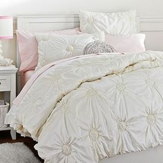 This is the most attractive bedding I've ever seen!!!!! Ruched Rosette Quilt + Sham, Snow White #pbteen