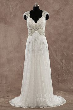 Classic Sheath-Column Straps Natural Train Lace Ivory Wedding Dress with Beading LWZT140B8* #weddingdresses #cocomelody