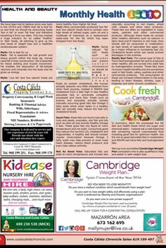 My latest health article in the Costa Calida Chronicle all about Fats - the good bad and ugly! Cambridge Weight Plan Spain Murcia